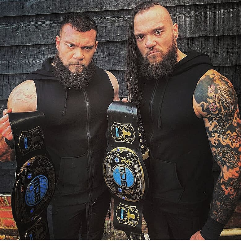The Bone Brothers with the Berkshire tag team championships!